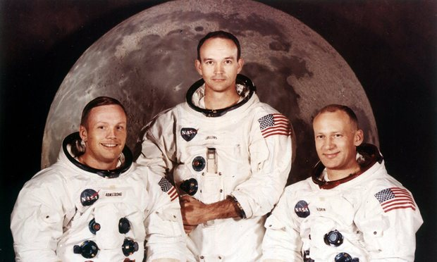 A 1969 crew portrait of Apollo astronauts Neil Armstrong, left, Michael Collins, centre, and Buzz Aldrin. (Photograph: AP-Nasa)
