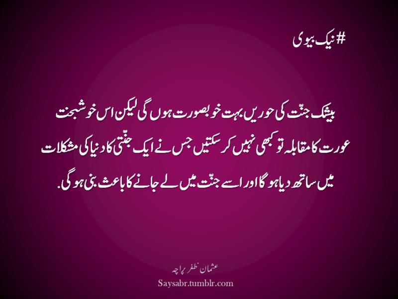 "#Nek Biwi Beshak jannat ki hoorein buhat khoobsurat hongi lekin us khushbakht aurat ka muqabla to kabhi nahin kar saktein jis nay aik jannati ka dunya ki mushkilaat mein saath diya hoga aur usay jannat mein lay jaanay ka baais bani hogi. (Usman Zafar Paracha – Urdu Quote)  NB. Get eBook of Usman Zafar Paracha's quotations – ""میرے خیالات"" - http://amzn.to/29gFPKD Video of one of Usman Zafar Paracha's quotations - https://youtu.be/osjqod4nwDs"
