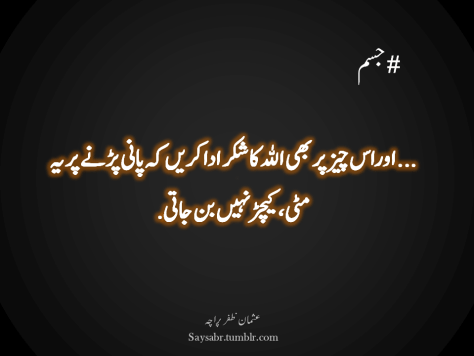 "#Jism …aur is cheez par bhi ALLAH ka shukar ada karein keh paani parnay par yeh mitti, keechar nahin ban jaati.  NB. Get eBook of Usman Zafar Paracha's quotations – ""میرے خیالات"" - http://amzn.to/29gFPKD Video of one of Usman Zafar Paracha's quotations - https://youtu.be/osjqod4nwDs"