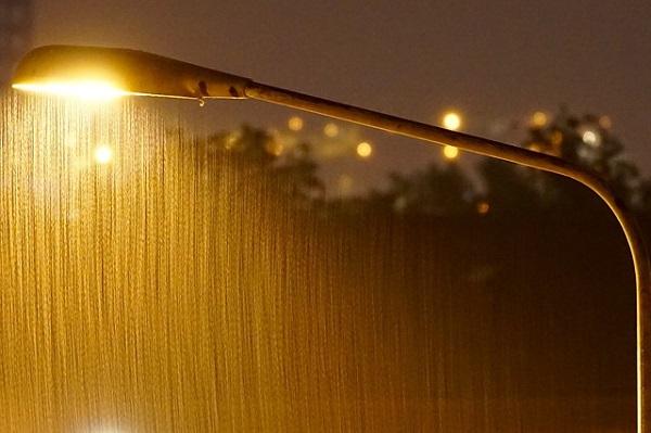 Rain and street light