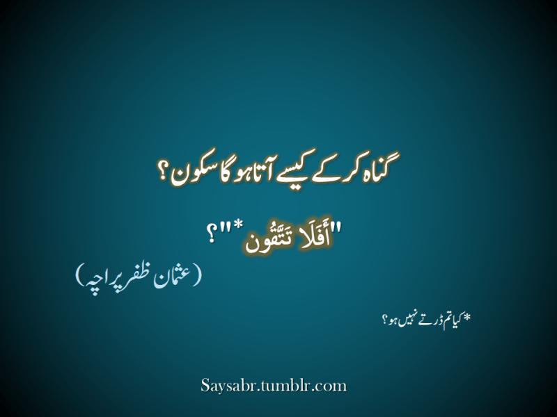 "Gunah kar kay kesay aata hoga sukoon? ""Afala tattaqoon*""?  *Kya tum dartay nahin ho?  NB. Get eBook of Usman Zafar Paracha's quotations in Urdu – ""میرے خیالات"" - http://amzn.to/29gFPKD Join Usman on Facebook - https://www.facebook.com/usmanzparacha"