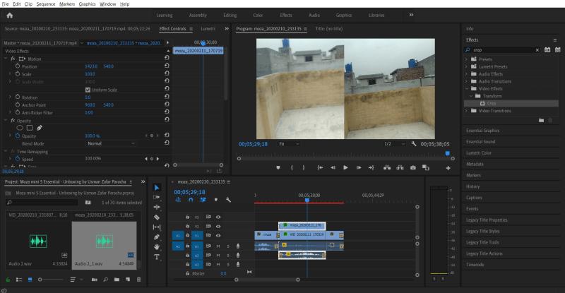 Split screen side by side video effect