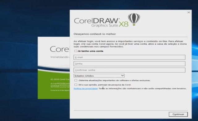 Coreldraw x8 tela de login