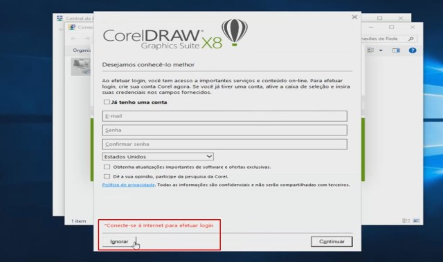 Erro na tela de login do coreldraw x8