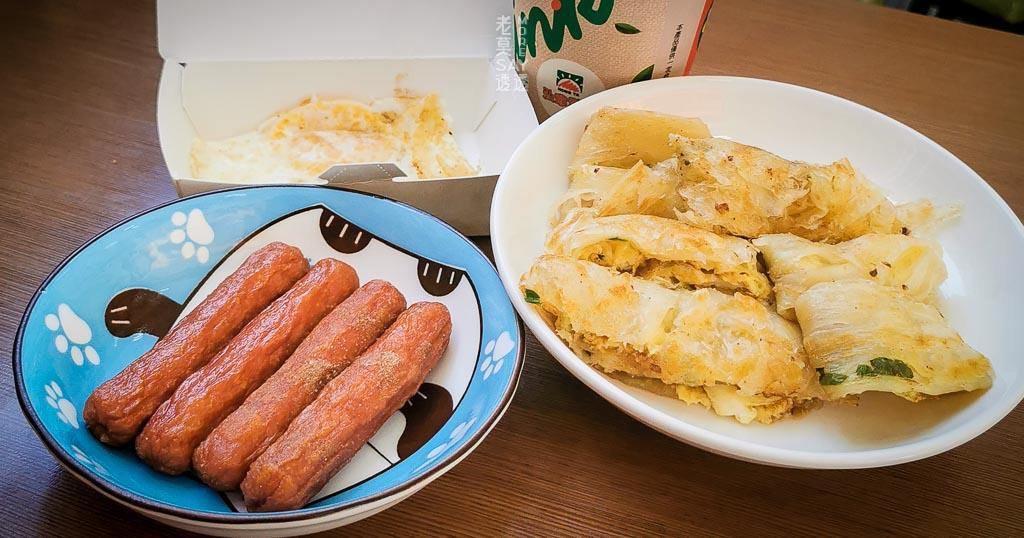 [台南早餐]永康弘爺漢堡新奇美店,蔥抓餅加蛋,熱狗,豆漿,半熟蛋