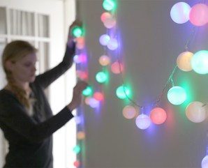 DIY ping pong ball cafe lights   10 Last Minute DIY Christmas Decorations   Expressing Life