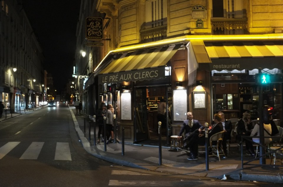 Paris evening street scene