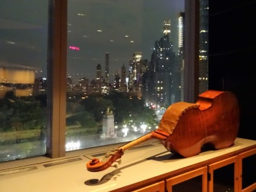 Double bass and New York city lights