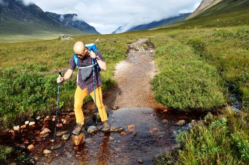 Crossing a stream on the way to Glen Coe