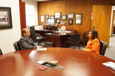 U.S. Representative Norma J. Torres discusses gun violence prevention efforts with Dr. Mat Holton, Superintendent of the Chaffey Joint Union High School District.