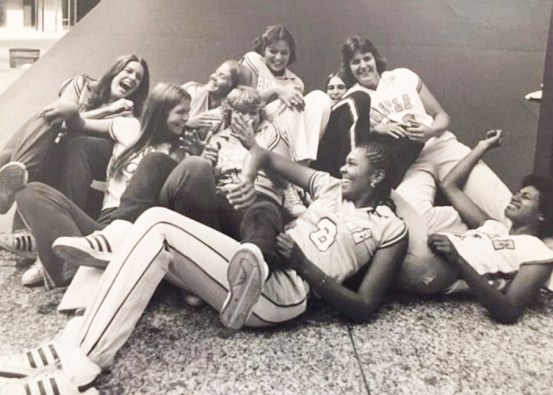 After graduating college with a bachelor's degree in biology, Lisa Thomas, shown in the foreground with her teammates, was the seventh pick in the draft for the Women's Professional Basketball League and played for two years with the Chicago Hustle. PHOTO CREDIT: Photo courtesy of Lisa Thomas