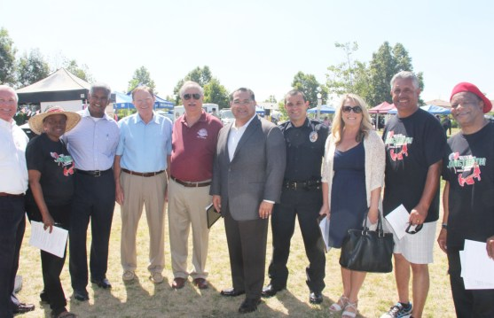 Redlands area officials, sponsors, & others includes: Curt Lewis, Representing Congress Member, Pete Aguilar; two members, Redlands City Council; James Ramos, Member San Bernardino County Board of Supervisors, & candidate for election to Congress; Redlands Chief of Police; & Juneteenth Celebration Co-Chairs; Mario Saucedo, & Pastor Anthony Green. Credit: John Coleman909 894-3070 Community Photography X (C P Time/s)