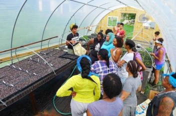The Soul Fire Farm team show visitors around a hoophouse at the start of the growing season. (Image: Capers Rumph / courtesy of Soul Fire Farm)