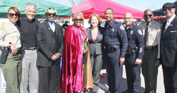 Shelisha Williams, Sheriff Lieutenant, Frank Reyes, Board Member, SBCCD; Garry & Kay Maxwell, SBBCF Black Senior King & Queen; Eloise Reyes, Member California Assembly; Joseph Paulino, Chief of Police, SBUSD; Martin Sissac, Chief of Police, Fontana USD; Horace Boatwright, Sheriff Captain; & Carl Dameron.