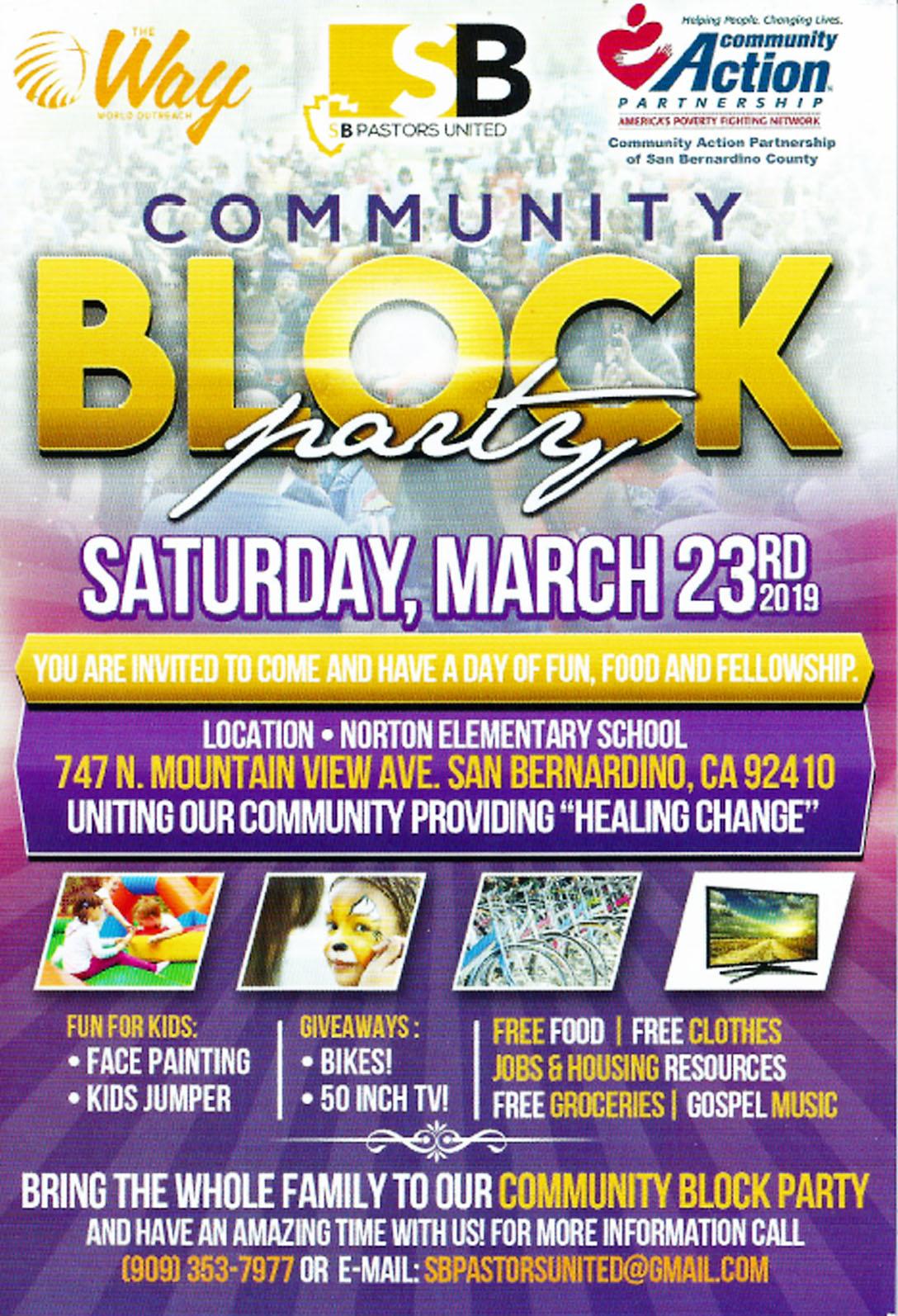 Community block Party flyer