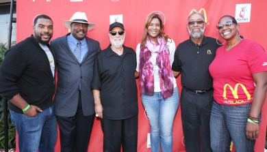 Kyle Webb, Lindsay Hughes, Danny Bakewell (LA Sentinel) Kiana Webb, Reggie Webb and Nicole Enearu attend McDonald's 10th Annual Inspiration Celebration Gospel Tour at the Taste of Soul Festival on October 15, 2016