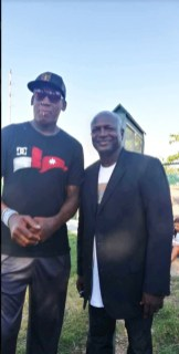 Dennis Rodman with Pastor Hines at the event..