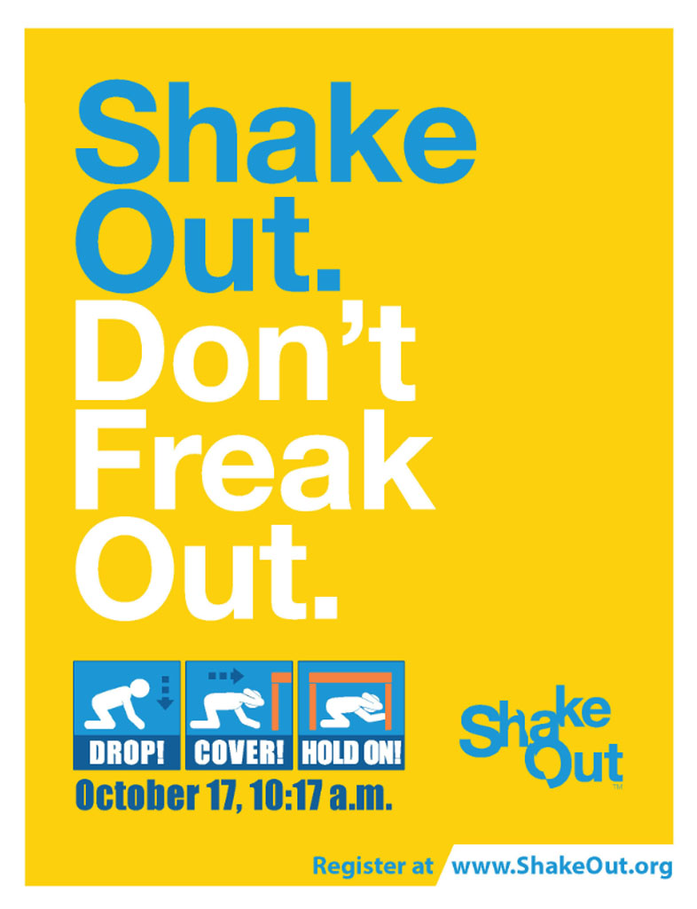 Shake Out Don't Freak Out flyer
