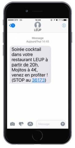exemple SMS restaurant