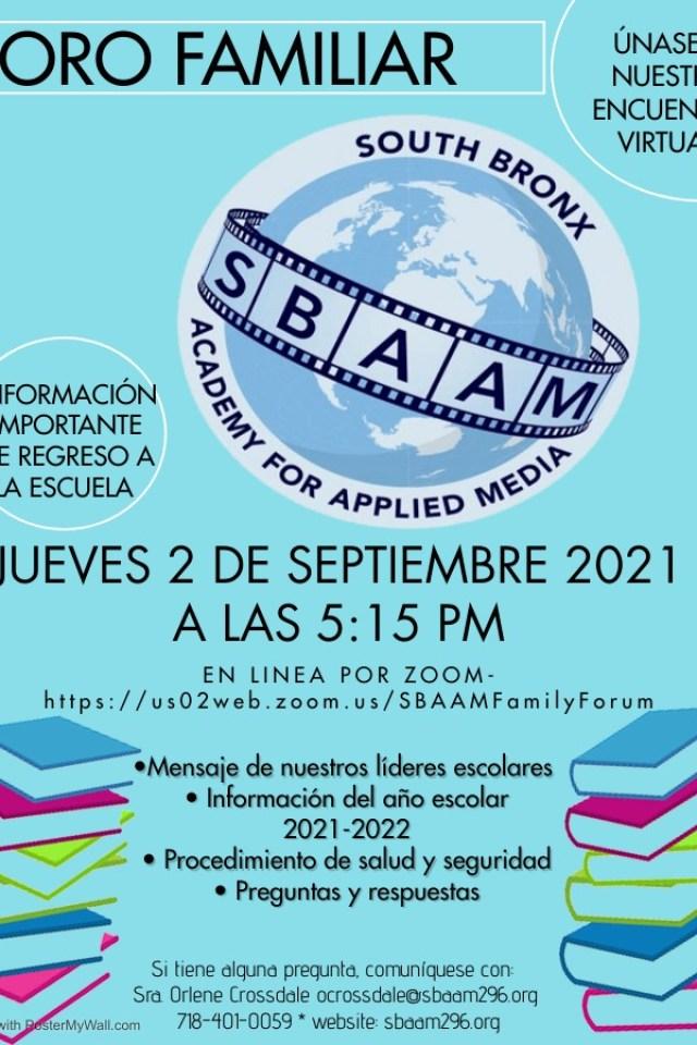 Family Forum Flyer SBAAM 2021 SPANISH (1)