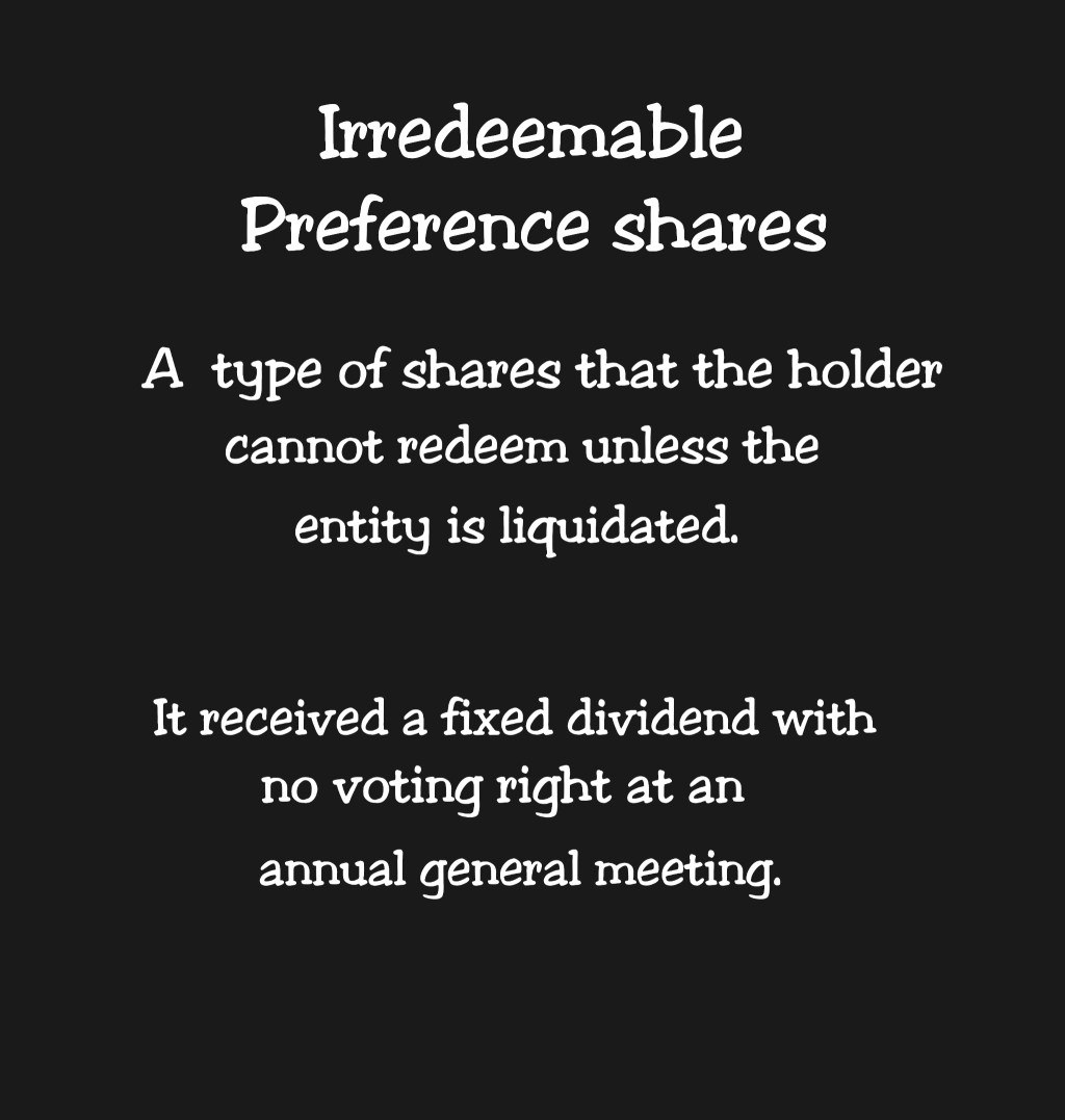 Meaning of irredeemable Preference Shares with Key Explanations