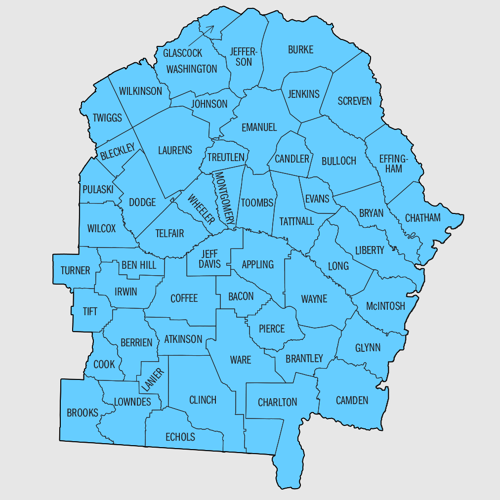 A map of the counties in Georgia served by SBAC