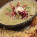 Jersualem Artichoke Soup with Crispy Bacon - Menu Marker
