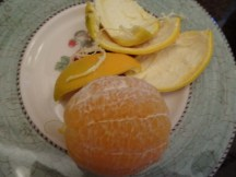 6. Peel away the skins - use a knive to scrape any pith that doe