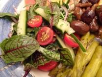 Pretty sorrel leaves liven up a little salad for the anitpasto platter.