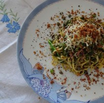Homemade Gluten Free Pasta with Purple Sprouting Broccoli, Fresh Herbs, Tuscan Salami and Crunchy Garlic Bread Crumbs.