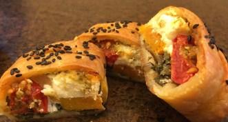 Pumpkin, spring onion and feta rolls...