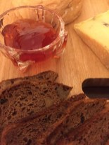 """Rosehip Jelly with Millawa Cheese's Morbier style """"Cooper"""" and homemade gluten free walnut bread."""