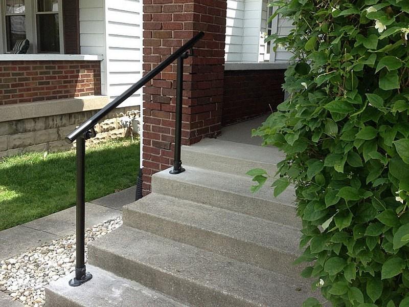 Surface 518 Outdoor Stair Railing Easy Install Handrail | Black Iron Pipe Handrail | Cast Iron | Horizontal Pipe | Paint Pipe | Stair Outdoor Decatur | Railing Aluminium Pipe