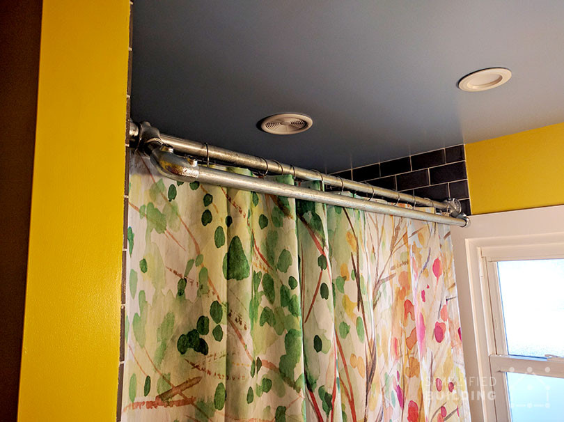 diy double shower curtain rod with