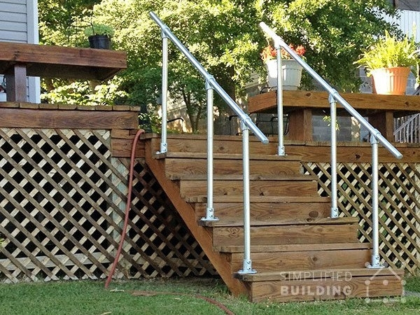 Simple Sturdy Exterior Stair Railing Simplified Building   Building Deck Stair Railings   Outdoor Stair   Balusters   Porch Railing   Porch   Stair Treads