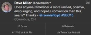 Dave Miller Tweet on #SBC15