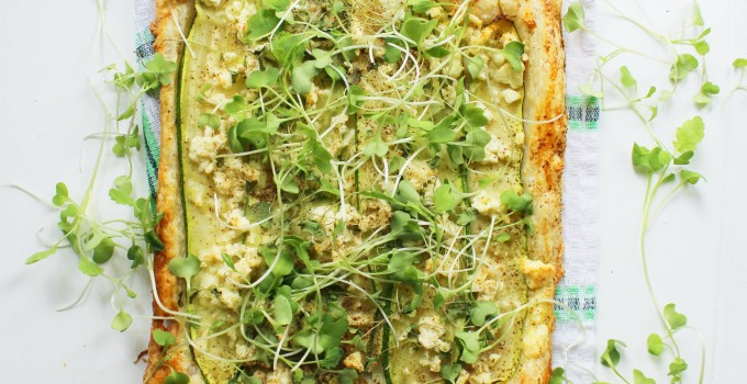 Savory Zucchini Feta Tart with Wasabi Mustard Microgreens