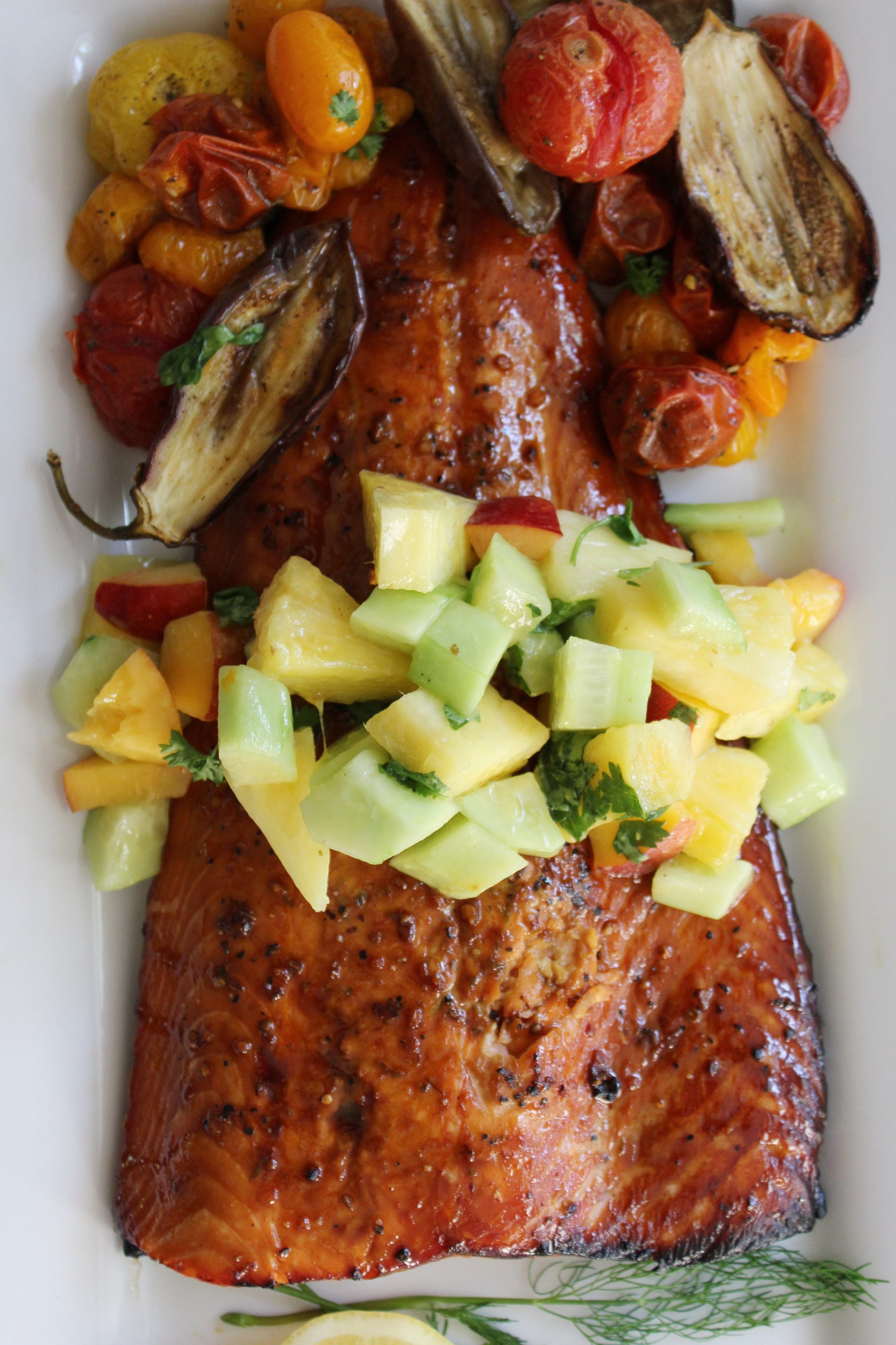 sweet salmon with pineapple salsa