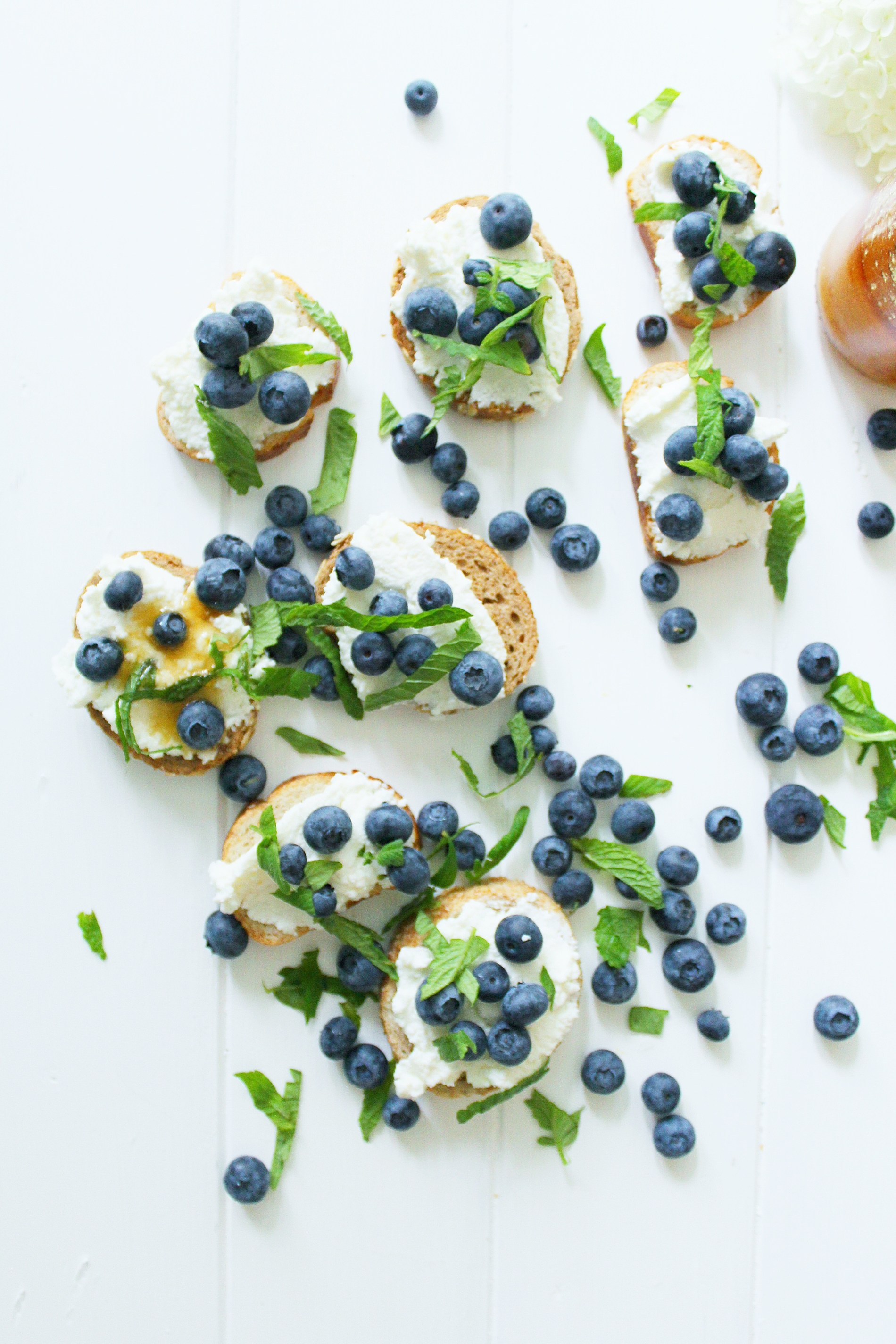 Blueberry Ricotta Crostini with Wildflower Honey