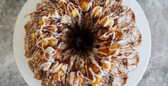 Mocha Hazelnut Praline Bundt Cake with Espresso & Vanilla Bean Glaze
