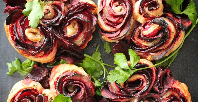 Beet Roses with Greek Yogurt Cream Cheese