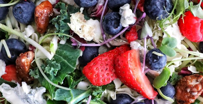 Summer Berry Salad with Honey Gorgonzola Dressing