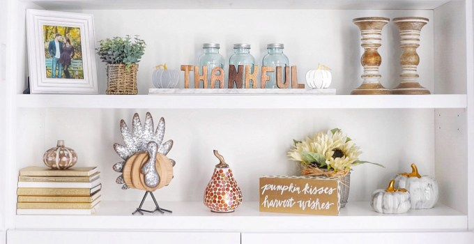 A Simply Beautiful Fall Shelfie & Kitchen Island Makeover