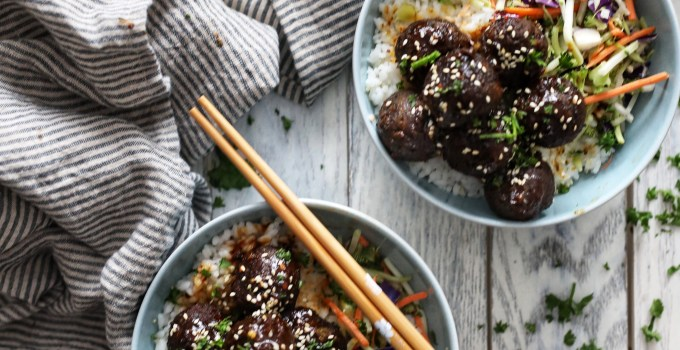 Black Bean Meatballs with Blueberry Firecracker Sauce