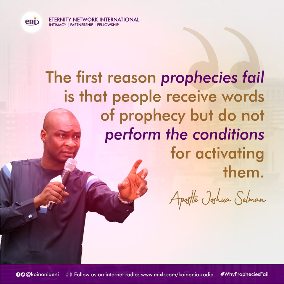 Why Prophecies Fail Koinonia with Apostle Joshua Selman Nimmak