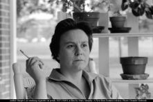 Author Harper Lee smoking cigarette on porch. HEY BOO, a film by Mary Murphy. A First Run Features release. Photo: Donald Uhrbrock