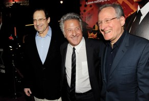 "personality LOS ANGELES, CA - JANUARY 25: (L-R) Writer/creator/executive producer David Milch, actor/producer Dustin Hoffman and executive producer/director Michael Mann arrive at the premiere of HBO's ""Luck"" at the Chinese Theater on January 25, 2012 in Los Angeles, California. (Photo by Kevin Winter/Getty Images)"