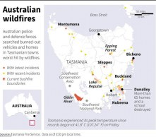 Map of Tasmania locating recent and current areas with wildfires as the region grips itself for the worst fires on record. Burn it up lets go for broke.