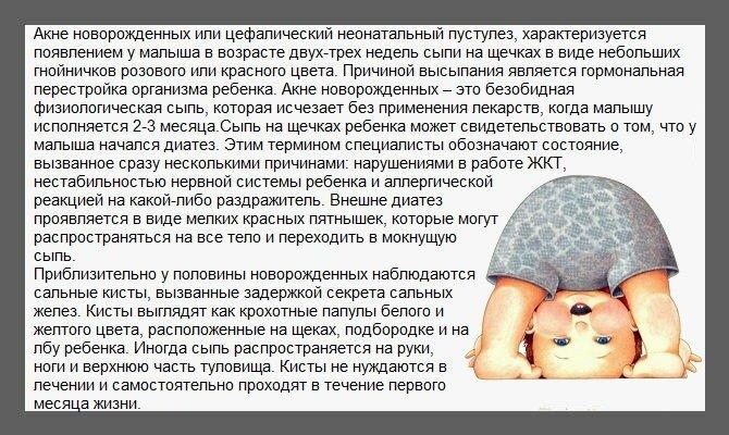 Что надо знать о сыпи у грудничков? Различные виды сыпи у новорождённого и их основные отличия