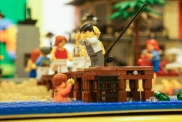 Minifigure fallen off jetty in LEGO display in David Jones